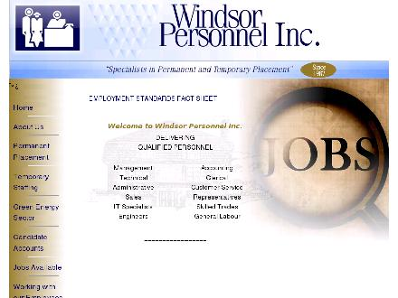Windsor Personnel Inc (519-258-9500) - Onglet de site Web - http://www.windsorpersonnel.com
