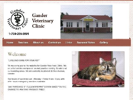 Gander Veterinary Clinic (709-256-3891) - Website thumbnail - http://www.gandervetclinic.com