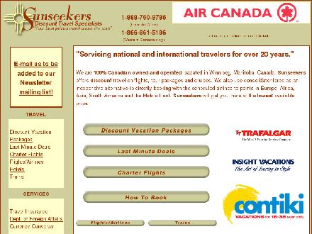 Sunseekers Vacations (204-945-9786) - Onglet de site Web - http://www.sunseekers.ca