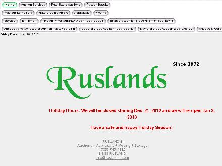 Rusland's Auctioneers &amp; Appraisers (705-745-4115) - Onglet de site Web - http://www.ruslands.com