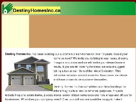 Destiny Homes Inc (403-345-4430) - Onglet de site Web - http://www.destinyhomesinc.ca