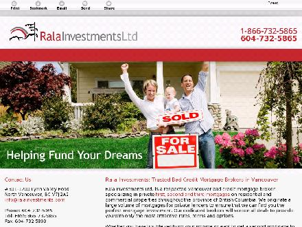 Rala Investments Ltd (604-732-5865) - Website thumbnail - http://www.ralainvestments.com