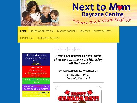Next To Mom Day Care Centre (506-853-0893) - Website thumbnail - http://www.nexttomomdaycare.com