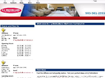 C J Mulholland Mattress Factory Ltd (905-561-2555) - Onglet de site Web - http://cjmulhollandmattress.ca