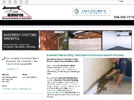 Basement Systems Winnipeg (204-339-7219) - Website thumbnail - http://www.basementwaterproofingwinnipeg.com
