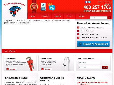 Pete The Plumber (403-798-0896) - Website thumbnail - http://www.petetheplumber.com