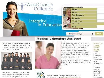 West Coast College Of Health Care (604-951-6644) - Onglet de site Web - http://www.westcoastcollege.com