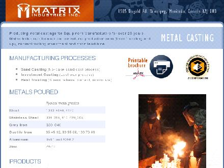 Matrix Industries Inc (204-661-6002) - Website thumbnail - http://www.matrixmetalcasting.com