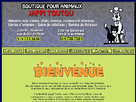 Jappi Toutou (514-723-3838) - Onglet de site Web - http://www.jappitoutou.com