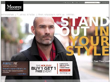 Moores Clothing For Men (1-866-455-5575) - Website thumbnail - http://www.mooresclothing.com