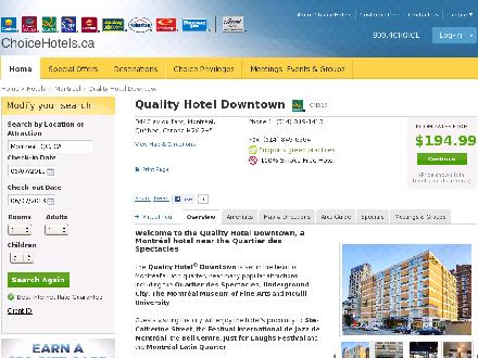 Quality Hotel Downtown Montreal (514-849-1413) - Website thumbnail - http://www.choicehotels.ca/cn329