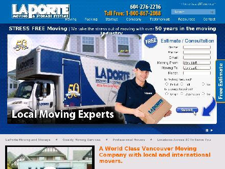 LaPorte Moving & Storage Systems Ltd (604-276-2216) - Website thumbnail - http://www.laportemoving.com