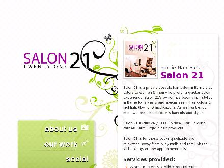 Salon 21 (705-321-3432) - Onglet de site Web - http://www.salon21.ca