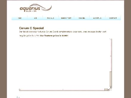 Aquarius Salon & Spa (905-934-6655) - Onglet de site Web - http://www.aquariussalonspa.com