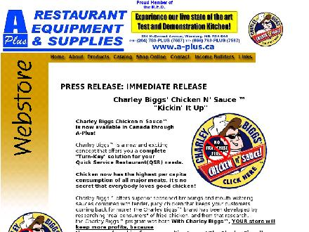 A Plus Restaurant Equipment &amp; Supplies (204-783-7587) - Onglet de site Web - http://www.a-plus.ca