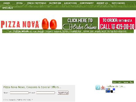 Pizza Nova (416-439-0000) - Onglet de site Web - http://www.pizzanova.com