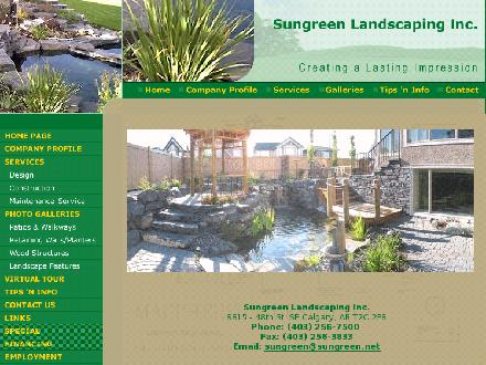 Sungreen Landscaping Inc (403-766-9022) - Onglet de site Web - http://www.sungreen.net