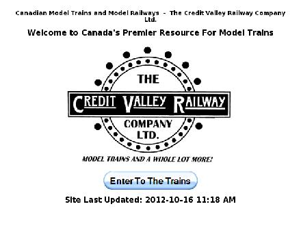 Credit Valley Railway Company Ltd (905-826-1306) - Onglet de site Web - http://www.cvrco.com