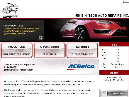 Jim's Hi Tech Auto Repairs Inc (613-831-1931) - Onglet de site Web - http://jimhitech.mechanicnet.com/