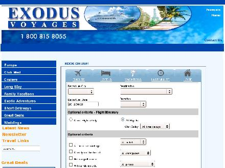 Exodus Voyages (450-629-8055) - Website thumbnail - http://www.exodusvoyages.com