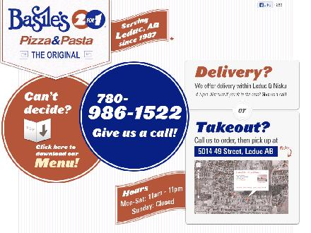 Basile's 2 For 1 (780-986-1522) - Onglet de site Web - http://www.basiles2for1.ca