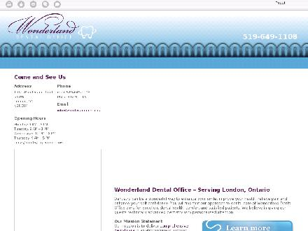 Wonderland Dental Office (519-649-1108) - Onglet de site Web - http://wonderlanddental.ca