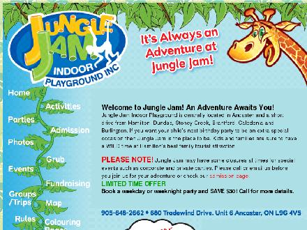 Jungle Jam Indoor Playground (905-648-2662) - Onglet de site Web - http://www.junglejam.ca