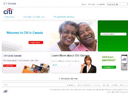 CITI BANK CANADA (416-947-5500) - Website thumbnail - http://www.citibank.ca