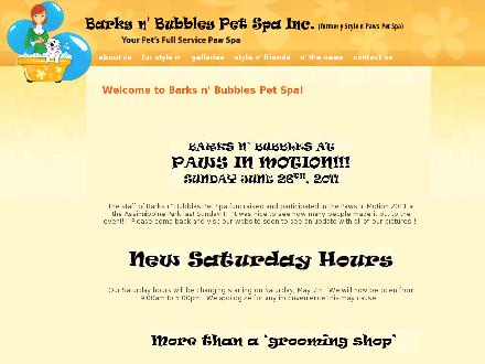 Barks N Bubbles Pet Spa Inc (204-478-5155) - Onglet de site Web - http://www.barksnbubblespetspa.com