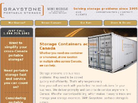 Graystone Portable Storage (1-888-221-6024) - Onglet de site Web - http://www.graystone.ca
