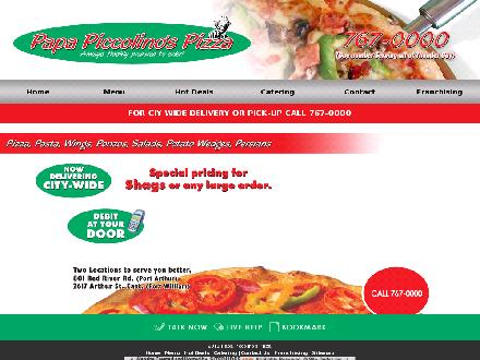 Papa Piccolino's Pizza (807-767-0000) - Website thumbnail - http://www.papapiccolinos.com