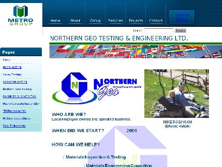 Northern Geo Testing &amp; Engineering Ltd (250-263-0305) - Onglet de site Web - http://www.northerngeo.ca