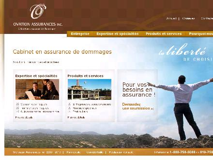 Ovation Assurances Inc (819-758-5088) - Onglet de site Web - http://www.ovationassurances.ca