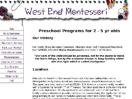 West End Montessori School The (780-487-6419) - Onglet de site Web - http://www.westendmontessori.org