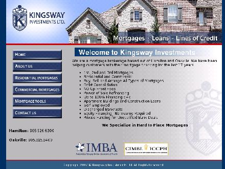 Kingsway Investment Ltd (905-526-6300) - Website thumbnail - http://www.kingswayinvestments.com
