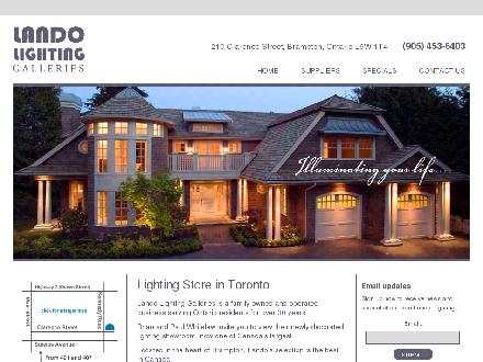 Lando Lighting Inc (289-801-3286) - Website thumbnail - http://www.landolightinggalleries.com