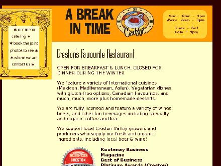 Break In Time Caffe (250-428-5619) - Onglet de site Web - http://www.abreakintimecaffe.com