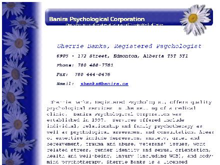 Banira Psychological Corp (780-613-0137) - Website thumbnail - http://www.banira.ca