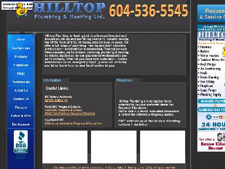 Hilltop Plumbing & Heating Ltd (604-536-5545) - Website thumbnail - http://www.hilltopplumbing.com
