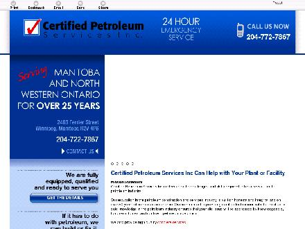Certified Petroleum Services Inc (204-772-7867) - Website thumbnail - http://certifiedpetroleumservices.ca/