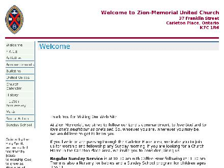 United Church Zion-Memorial (613-257-2133) - Onglet de site Web - http://www.zion-memorial.ca