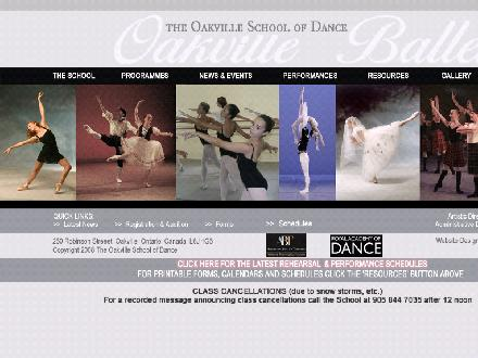 Oakville School of Dance The (905-844-7035) - Website thumbnail - http://www.oakvilleballet.com