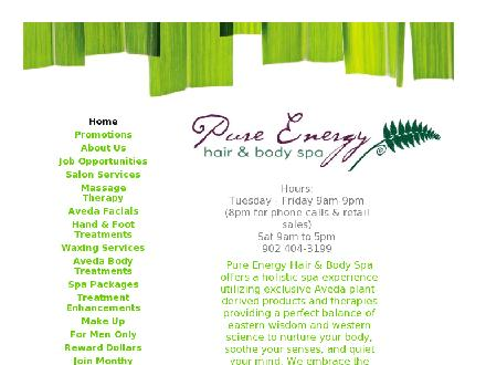Pure Energy Hair & Body Spa (902-404-3199) - Onglet de site Web - http://www.pureenergyspa.com
