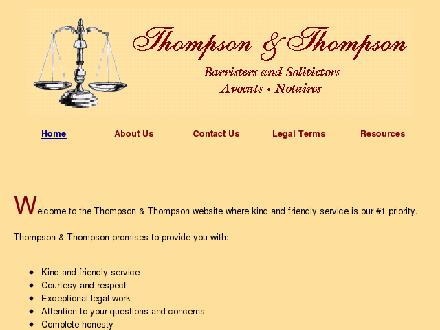 Thompson & Thompson Law Office (506-802-7650) - Onglet de site Web - http://www.thompsonandthompson.ca