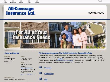 All-Coverage Insurance Ltd (506-633-0200) - Onglet de site Web - http://allcoverage.ca/