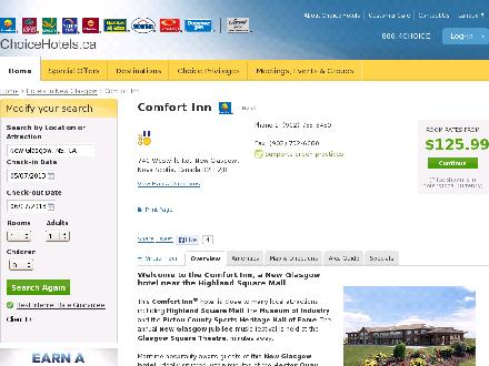 Comfort Inn New Glasgow (902-755-6450) - Onglet de site Web - http://www.choicehotels.ca/cn250