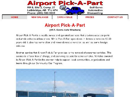 Airport Pick A Part (403-380-3035) - Website thumbnail - http://www.airportpickapart.ca