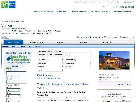 Holiday Inn Express Hotel & Suites (250-550-7777) - Website thumbnail - http://www.vernonexpress.com