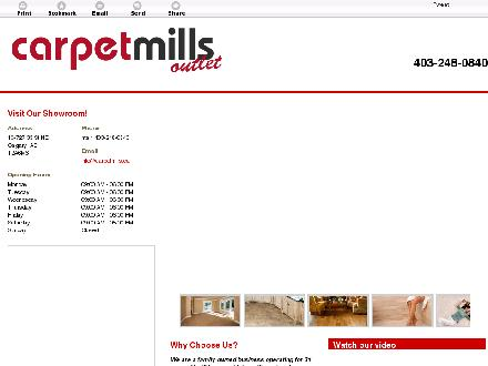 Carpet Mills Outlet (403-248-0840) - Onglet de site Web - http://carpetmills.ca