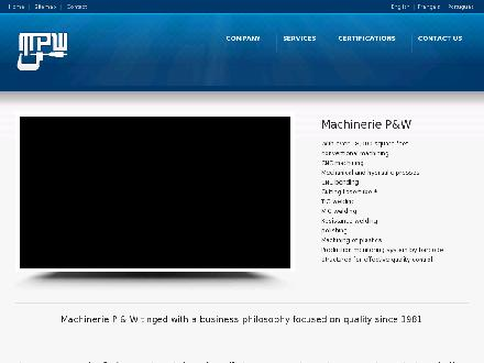 Machinerie P&W (418-622-5155) - Onglet de site Web - http://www.machineriepw.com